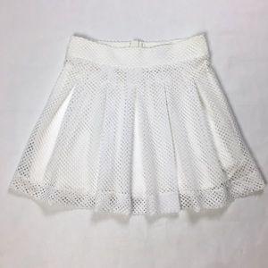 Banana Republic White Fishnet Pleated Skater Skirt